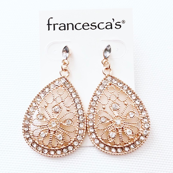 Francesca's Collections Jewelry - NWT Francescas's Rose Gold Pave Sparkle Earrings
